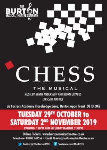 BMTC's Next Production: Chess 29th October - 2nd November 2019